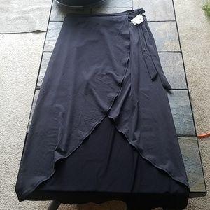 NWT Ultra Flirt Black Faux Wrap Skirt Tie Side L